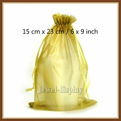 100 Pcs Gold Organza Drawstring Jewellery Packaging Pouches Gift Bag 15 x 23 cm