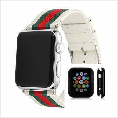 Stripes White Mix Colour Woven Wrist Band For Apple Watch38mm Protect Case x1