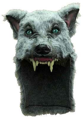 Grey Wolf Mask & Fur Skin Animal Shaman Scary Latex Fancy Dress Halloween New