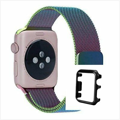 Colourful Milanese Stainless Metal Band Strap For Apple Watch 38mm Black Case