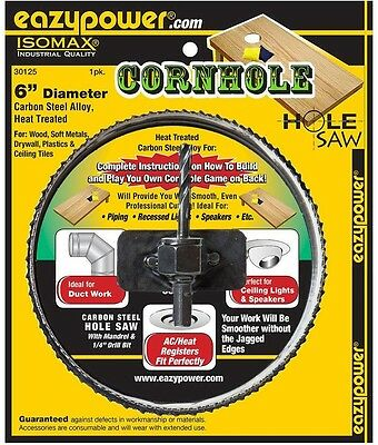 "Eazypower 6"" Hole Saw for Cornhole Boards-Six Inch Bit"