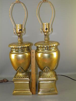 Vintage Heavy Solid Bronze Pair Table Lamps Neo Classical Form Acanthus Leaves
