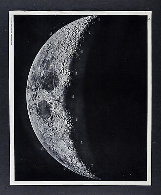 1960 Photographic Lunar Atlas Moon Photo No. 4 Cresent Moon Surface Craters Map
