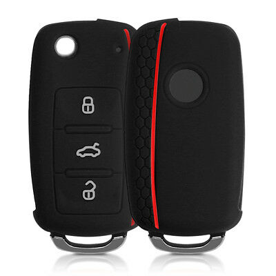 Silicone Cover For Vw Skoda Seat 3 Button Car Key Etui Case Cover In Black Key