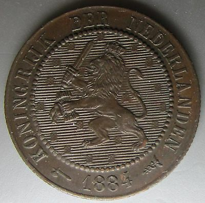 Netherlands 1884 Bronze 2 1/2 Cents