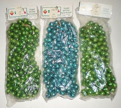 3 Antique Vintage Mercury Glass Bead Garland In Orig Packages Nos Blue Green New