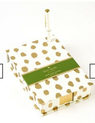 Kate Spade Gold Flamingo Dot Loose Note Holder with White Ball Point Pen, New