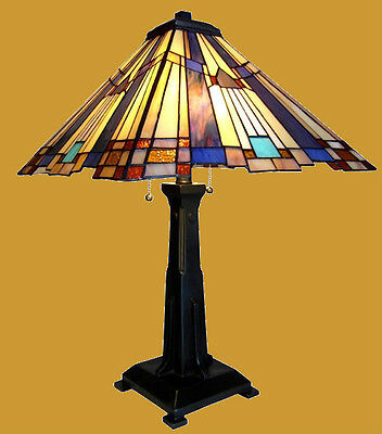 """Matching PAIR Arts & Crafts Hand-crafted Stained Glass Table Lamps 15"""" x 24"""""""