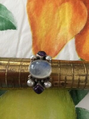 925 Sterling Silver by SLG Moonstone Amethyst Pearls Ring Sz 9 India Beautiful