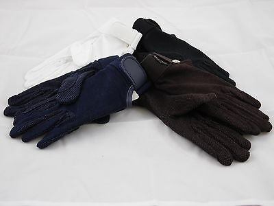 Lightweight Cotton Riding Gloves With Pimple Grips On Fingers & Palms 4 Colours