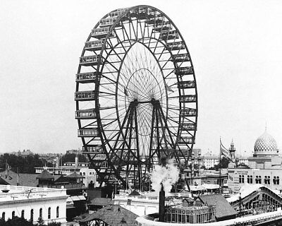 WORLD'S COLUMBIAN EXPOSITION GREAT FERRIS WHEEL 8x10 SILVER HALIDE PHOTO PRINT