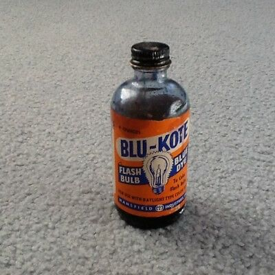 Vintage glass bottle BLU KOTE Flash Bulb DYE