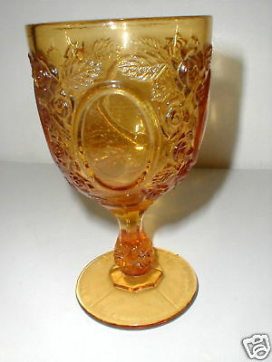 L G Wright Glass Amber MIRRORS & ROSES Goblet