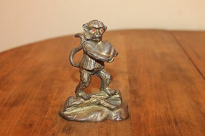 Antique French Gilt Ormolu Monkey wearing jacket on a log 4 1/4 inches