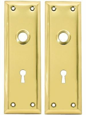 Kaba 213-04-51 Pair Of Brass Plated New York Style Back Plates With Keyhole *