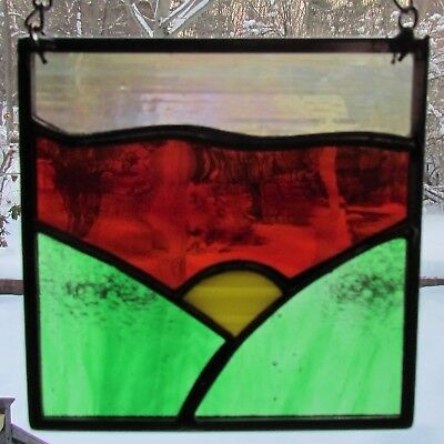 "Stained Glass Sun catcher 4"" x 4"" Landscape Chrome chain with suction cup"