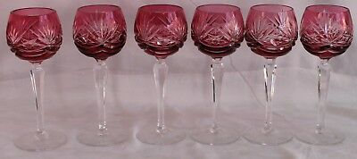 6 Vintage Bohemian Czech Wine Goblets Ombre Cranberry Cut To Clear Glass