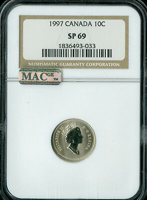 1997 Canada 10 Cents Ngc Mac Sp69  Finest Graded Spotless *
