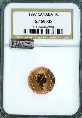1997 Canada Cent Ngc Mac Sp69 Finest Graded Rare Spotless  *