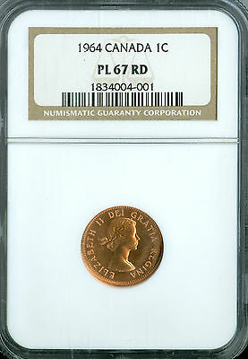 1964 Canada Cent Ngc Pl67 Rd 2Nd Finest Registry Spotless *