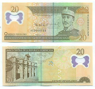Dominican Republic Note 20 Pesos 2009 Polymer Serial Ac Low # Number P 182 Unc
