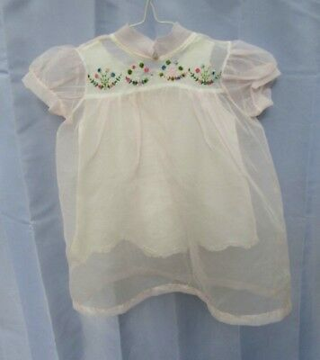 Vintage 1961, pink sheer embroidered, infant dress + slip,  (2 seperate items)