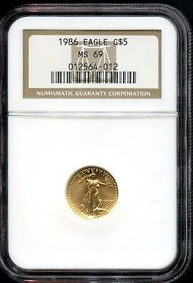 Amazing 1986 NGC MS69 Gold Eagle $5 Dollar .9167 Fine Coin VG728