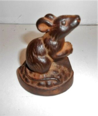 Old? Cast Iron Mouse with Acorn Door Stop 3 1/2 Tall Base is 3 x 2 1/2