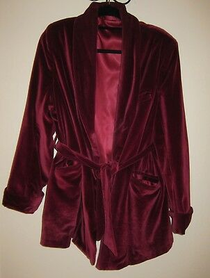vtg Hugh Hefner Style Robe Mens XL Smoking Jacket Red velour velvet satin lined