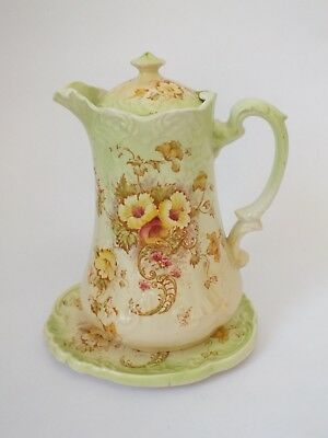 Vintage Green S.F.& Co.Crown Devon 'ELM' Teapot Coffee Pot  and Stand
