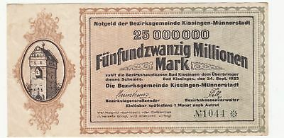 129 Bad Kissingen, Bezirksgemeinde, 25Mio.Mark, 24.9.23