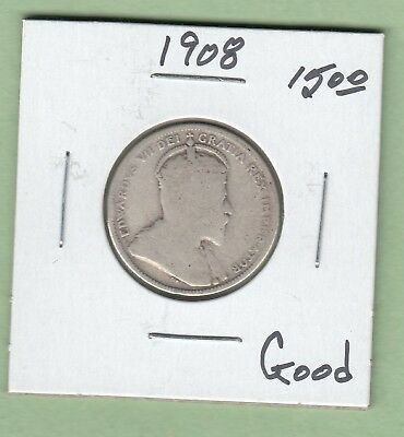 1908 Canadian 25 Cents Silver Coin - Good