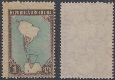 ARGENTINA 1951 MAP & ANTARTIC Sc 594 KEY VALUE PRINTED ON THE GUM SIDE MNH RARE!