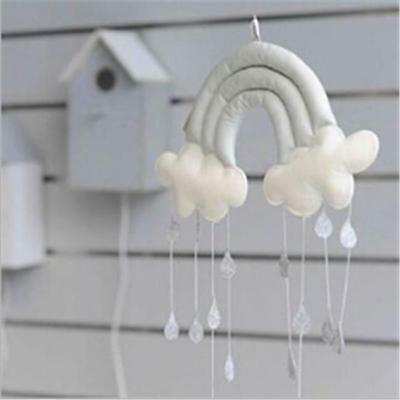 Rainbow Cloud Rain Drops Wall Hanging Baby Nursery Decor Mobile Ornament LA