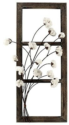 """Wood Frame w/ Metal Cotton Branches Farmhouse Country Wall Decor 31"""" NEW V1364"""