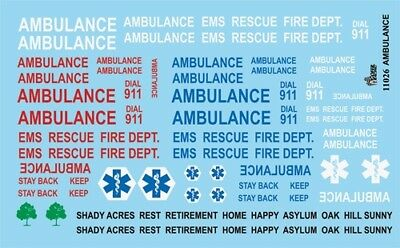 Gofer 11026 Ambulance and EMS Decal Sheet 1/24 and 1/25