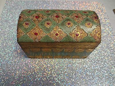 Vintage Made in Italy Florentine Gold & Sage Treasure Chest Wooden Hinged Box