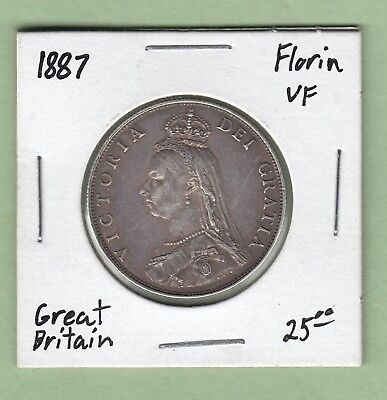 1887 Great Britain One Florin Silver Coin - VF