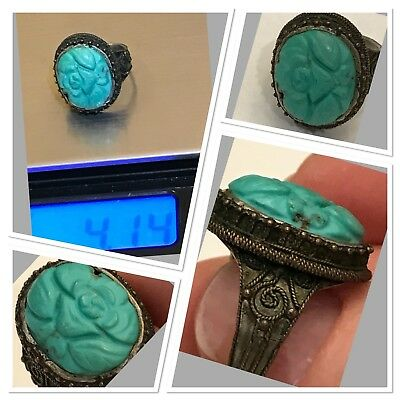 Exquisite Find-Antique Chinese Natural Turquoise & Sterling Silver Ring