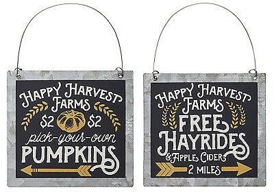 Lot of 2 Pick Pumpkins Free Hayrides Tin Ornie Primitive Rustic Country Harvest