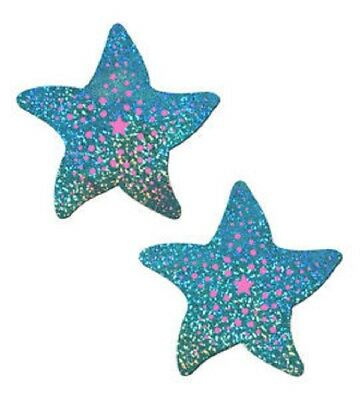 Pastease Blue/Pink Starfish Nipple Pasties Cover  ~ 1 pair