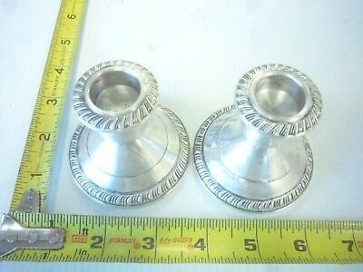 A Pair Of Old Vintage Sterling Silver Taper Candle Holders 11Oz