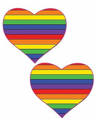 Pastease Rainbow Heart Nipple Pasties Cover  ~ 1 pair