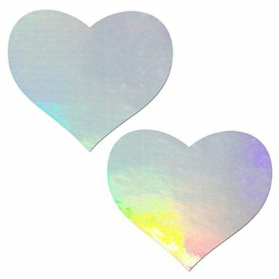 Pastease Silver Hologram Heart Pasties Cover  ~ 1 pair