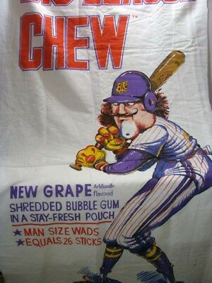 Vintage Big League Chew New Grape Shredded Bubble Gum Large Cloth Banner**wow!!