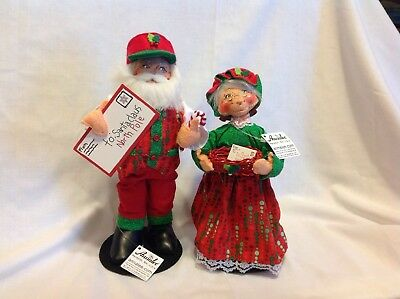 ANNALEE set of 2 Santa & Mrs Claus Special Delivery 2017 Christmas Dolls New