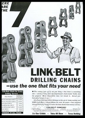 1936 Link-Belt oil well drilling chain 7 sizes vintage trade print ad