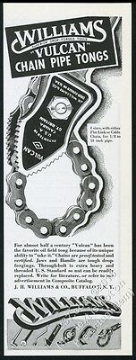 1945 Williams Vulcan oil well chain pipe tongs tools vintage print ad
