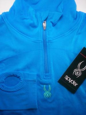 New Spyder Girls Therma-Stretch Core T-Neck Zip Pullover Logo Top M 8 9 10 NWT