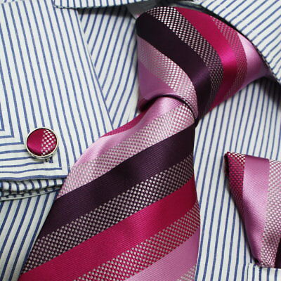 PH1020 Red Pink Black Striped Silk Hanky Cufflinks Tie Set For Mens By Epoint